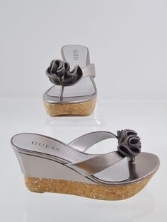 8344e62b21251b GUESS Palery Cork Wedge Thong Sandal Iced Pewter Leather Summer Shoes Sz 6M