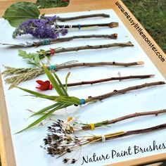 A fun outdoor art activity for kids. Easy enough for toddlers and preschoolers (EYFS). holiday activities for kids eyfs Make your own Nature Paintbrushes - Painting with flowers and nature Diy Nature, Art Et Nature, Theme Nature, Kids Nature Crafts, Nature Hunt, Children Crafts, Summer Crafts For Kids, Projects For Kids, Art For Kids