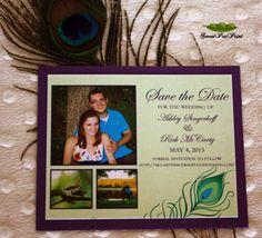 Custom Pecock  Wedding Save-The-Date by Sweet Pea Print