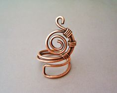 Wire Wrapped Adjustable Copper Ring - Handmade Copper Ring - Copper Jewelry…