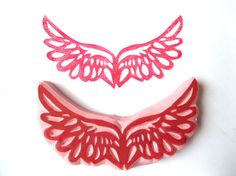 Angel Wings Hand Carved Rubber Stamp by SweetSpotStampShop on Etsy, $7.99