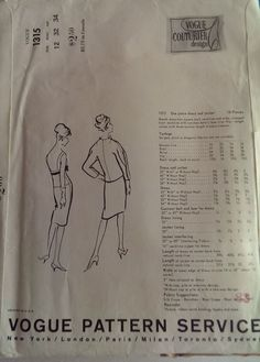 Vogue Couturier Design 1315 dress pattern by Fredico Forquet (back of env)