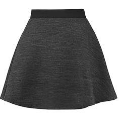 McQ Alexander McQueen Flared woven mini skirt ($175) ❤ liked on Polyvore featuring skirts, mini skirts, dark gray, frilly skirts, flounce skirt, ruffle mini skirt, short skirts and flare skirt