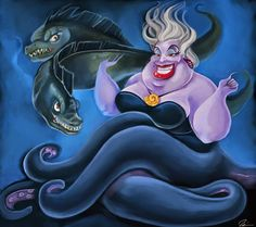 Its Ursula from Disney's A Little Mermaid with her cohorts, Flotsam and Jetsam. One of my fave Disney villains. Disney Songs, Disney Movies, Disney Pixar, Disney Little Mermaids, The Little Mermaid, Disney Villains, Disney Characters, Sea Witch, Aristocats