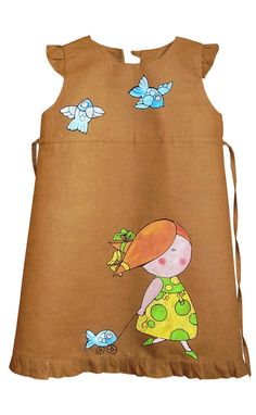 """Brown color linen girl dress - painted dress - Hand painted - unit work - size by height 41""""/104 cm for 3-4 year - children summer clothing"""