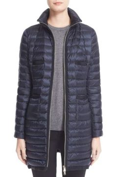 Moncler Bogue Water Resistant Long Down Jacket Size 0 Navy $1095