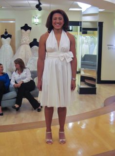 Season 7 Featured Dresses, Part 6. Elana. Dress info: Amsale. White. Silk taffeta. Halter top dress with plunging neckline around waist with bow accent. Pleated, cocktail length skirt. $990.00 (50% off). #Weddings #SYTTD