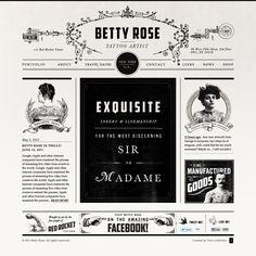 Betty Rose Tattoo Website - love the layout Blog Website Design, Blog Design, Web Design Inspiration, Website Web, Editorial Layout, Editorial Design, Web Layout, Layout Design, Vintage Web Design