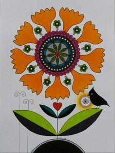 Flower with bird, heart and sun.  Tecknad blomma och fågel i tusch och färgpennor.Caran d' Ache and Faber Castell Veronica, Magenta, Print Patterns, Illustrations, Studio, Prints, Flowers, Art, Art Background