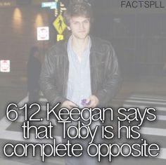 Keegan diz que Toby é seu oposto completo