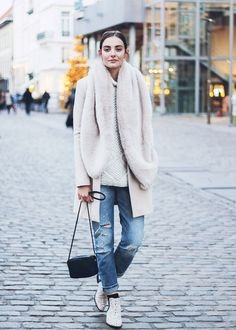 Fashion -- Street Style Inspiration | 45 Images : Coats & Cosy Sweaters, Pantsuits, Leather & Lace -- a slideshow compilation