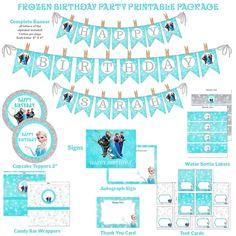 Frozen Birthday Party Printable Package, Aqua