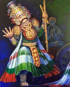 Acrylic painting by Sharath Holla. Arjuna,Yakshagana character.coastal Karnataka Dance Paintings, Indian Art Paintings, Indian Folk Art, Folk Dance, Dance Poses, Karnataka, Art Drawings Sketches, Mural Art, Pictures To Draw