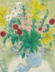 amare-habeo: Marc Chagall (Bielorusian-French, 1887-1985) Flowers in a blue vase, 1936 Gouache and watercolour on paper, 68.4 x 52.7 cm