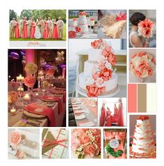 These colors are fun yet classy! Coral, tan and Ivory are a perfect combo. pics courtesy of http://blog.oubly.com/wedding-color-palettes/