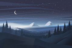 Beautiful natural night landscape backgr... | Premium Vector #Freepik #vector #background #tree #nature #cartoon