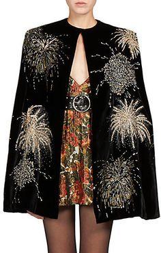 Saint Laurent - Velvet Sequined Cape // Empress of Style How To Roll Sleeves, Donna Karan, Saks Fifth Avenue, Fashion Forward, Cape, Saint Laurent, Kimono Top, Velvet, Style Inspiration
