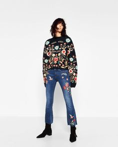Image 1 of EMBROIDERED CROPPED JEANS from Zara