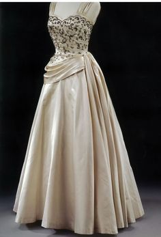 Evening dress by Victor Stiebel at Jacqmar, embroidered silk satin, 1950s