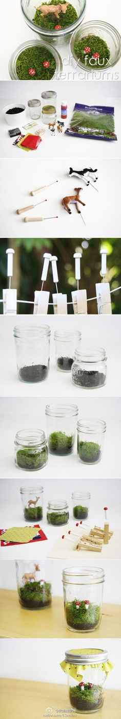 DIY faux terrariums - this tutorial uses dried moss instead of the real stuff, to create a non-killable terrarium. For those of us without green thumbs!