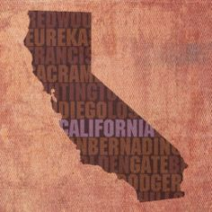 California Word Art State Map On Canvas by Design Turnpike