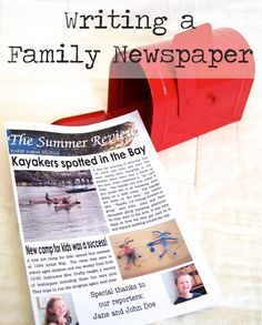 Tips and resources for creating a family newspaper with the budding journalists in your life. Idea: Keep a plastic sleeve folder and insert a double sided single page family newspaper each week to create a family year book. Literacy Activities, Activities For Kids, Rainy Day Fun, Create A Family, Teaching Writing, Play To Learn, Home Schooling, Kids Learning, Summer Fun