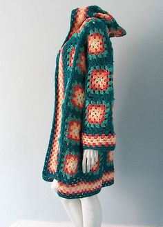 Vintage Crocheted Granny Square Jacket with by WelcomeHomeVintage