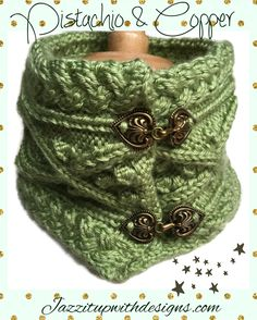 Pistachio Cowl Cable Bobbles Copper Fasteners in Caron Simply Soft Yarn #cpromo