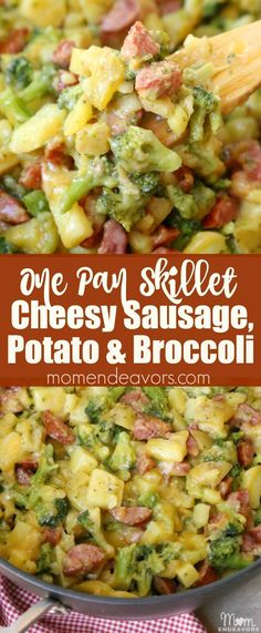 Cheesy Sausage, Potato, and Broccoli Skillet -  an easy one pan meal recipe! Sponsored by @klementsausage #WhatsCookingWednesday Johnsonville Sausage Recipes, Easy Sausage Recipes, Pork Recipes, Cooking Recipes, Healthy Recipes, Polish Sausage Recipes, Eckrich Sausage, Bratwurst Recipes, Salads