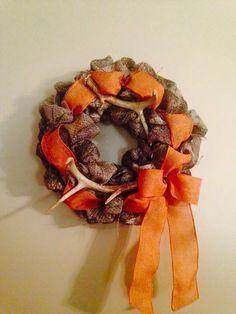 Camo burlap wreath with real deer antlers!