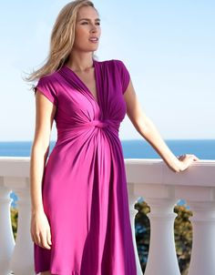 Robe grossesse col V noeud manches courtes - Fuchsia | Seraphine