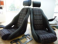 Rallye seats in leather w tartan centers,grommets,headrest and Trips device.Custom classic seats made by GTSclassics