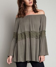 Look what I found on #zulily! Olive Off-Shoulder Tunic #zulilyfinds