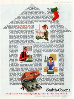Vintage Smith Corona typewriter ad. Replace typewriter with computer = today!