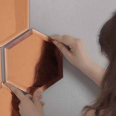Mirrorized Mirrors by Seletti, hexagon, copper, set of 18 | desiary.de - identity store