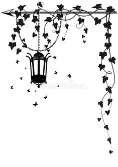 vector border with street lamp, butterflies and ivy for corner design Simple Wall Paintings, Wall Painting Decor, Creative Wall Painting, Boarder Designs, Page Borders Design, Frame Border Design, Corner Drawing, Wall Drawing, Drawing Borders
