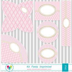 Kit Festa - Provençal rosa e branco mod:566 - *Kit Festa Temas Diversos | Creativstemplates
