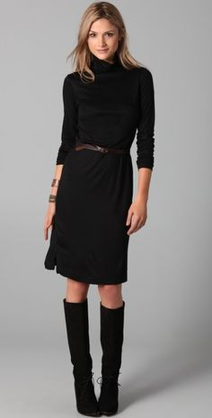 Jersey dress with boots...just saw this dress at H&M; $14.95 ...