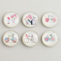 Bikes and Birds Magnets, Set of 6