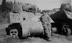Destroyed German M4 Sherman tank