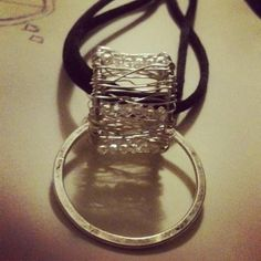 Wire wrapped pendant with Swarovski crystals