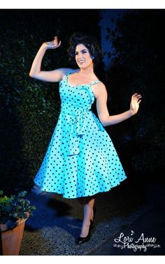Downtown Dames Swing Dress Baby Blue with Black Polka Dots (size 2X)