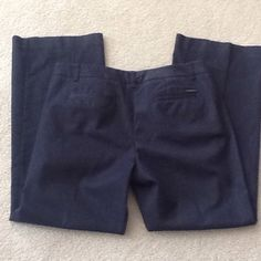Navy Blue Trousers❤️SUNDAY SALE❤️ Navy blue trousers with front & back pockets. Wider legs. Worn once-perfect condition. Size 12 petite. 64% Cotton, 34% Polyester & 2% Spandex. New York & Company Pants Trousers