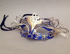 Royal Blue masquerade ball mask Laser cut metal Blue Gold Mask costume prom party