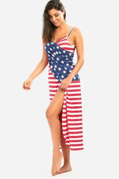 a39725fbdc Patriotic Cover Up American Flag Wrap Dress - Colormix XL American Flag  Dress, American Flag