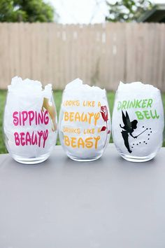 Disney Princess Wine glasses Tinker Bell Sleeping Beauty Beauty and the Beast Snow White friend gift personalized gift Disney cruise sleeping beauty Wine Glass Sayings, Wine Glass Crafts, Wine Glass Set, Bottle Crafts, Tinker Bell, Disney Cruise, Disney Disney, Punk Disney, Disney Facts