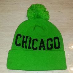 """""""CHICAGO"""" Neon Green Knitted Beanie - One Size - NEW! #Chicago #Ski"""