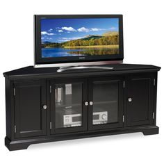 Slate Black Hardwood 60-inch Corner Tv Console