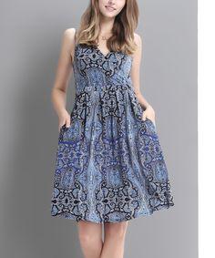 Look at this #zulilyfind! Blue Paisley Surplice Fit & Flare Dress by Reborn Collection #zulilyfinds