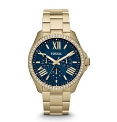 Women's Fossil Watch AM 4497 Blue Face Gold Stainless Steel Band